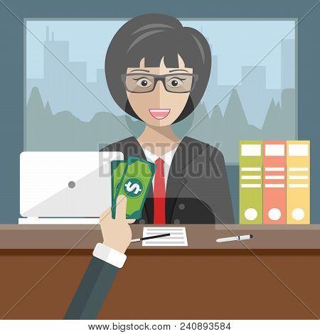 Bank Teller Sitting Behind Glass. Woman Clerk In A Bank Office Receiving Money. Flat Vector Illustra