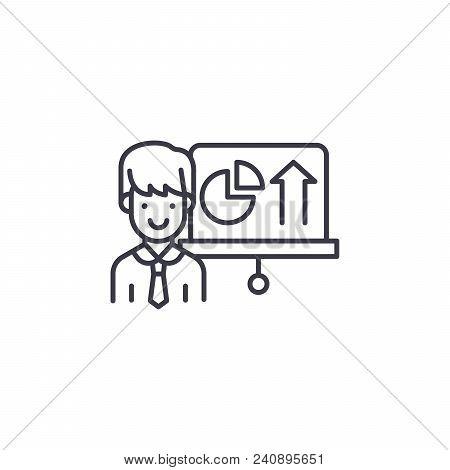 Report On Progress Line Icon, Vector Illustration. Report On Progress Linear Concept Sign.