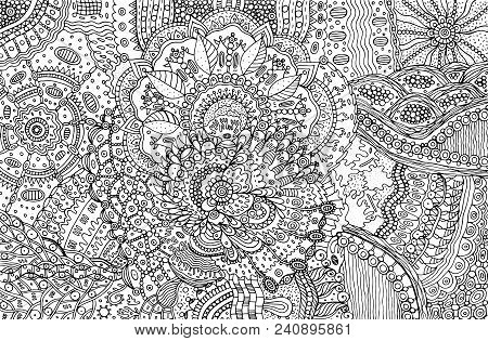 Coloring Page For Adults With Abstract Doodle Background. Cartoon Ink Graphic Art For Adults. Vector