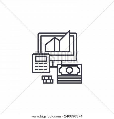 Revenue Calculation Line Icon, Vector Illustration. Revenue Calculation Linear Concept Sign.