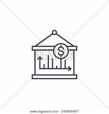 Revenue Dynamics Line Icon, Vector Illustration. Revenue Dynamics Linear Concept Sign.