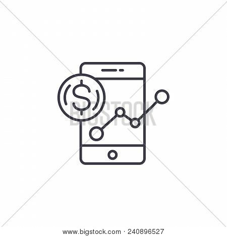 Revenue Monitoring Line Icon, Vector Illustration. Revenue Monitoring Linear Concept Sign.