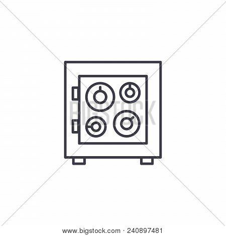 Safe Box Line Icon, Vector Illustration. Safe Box Linear Concept Sign.