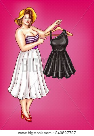 Vector Pop Art Fat Woman With Big Breast In Blouse With Low Neckline Isolated On Pink Background. Pl