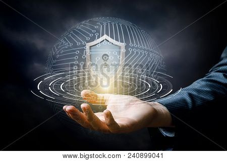 Hand Showing The Shield For Protecting Information Systems.