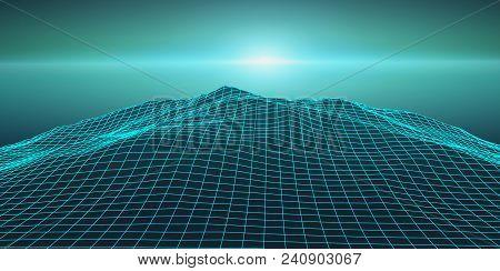 Retro Background Futuristic Landscape 1980s Style. Digital Retro Landscape Cyber Surface. Retro Musi