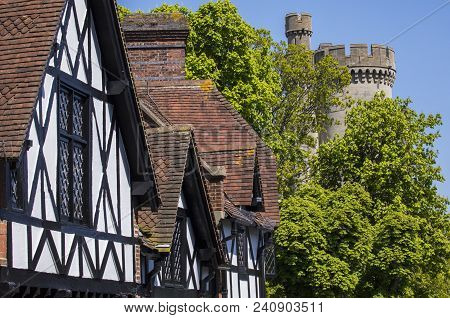 The Beautiful Architecture In The Market Town Of Arundel In West Sussex.  Here, The Timber-framed Ho