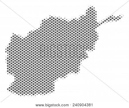 Schematic Afghanistan Map. Vector Halftone Geographical Abstraction. Silver Pixel Cartographic Compo