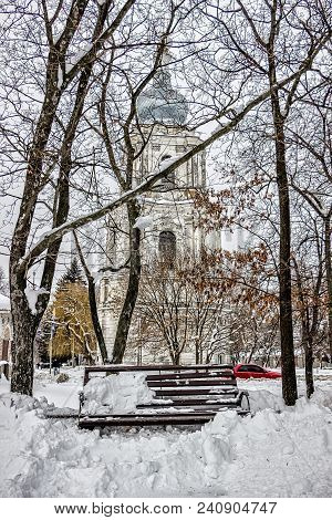 Lonely Church Is Very Snowy In Winter