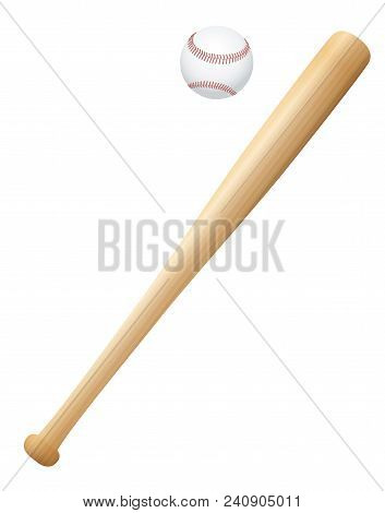 Baseball Bat With Ball. Wooden Textured Isolated Vector Illustration On White Background.