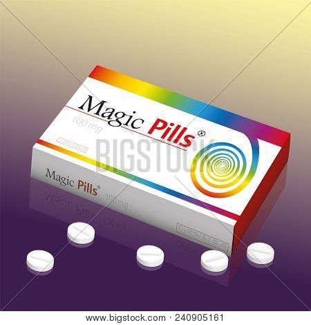 Medicine Packet Named Magic Pills, A Medical Panacea Product To Promise Miracle Cure, Assured Health