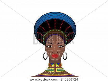African Tribe Headdress Female Zulu, Portrait Of Cute South African Woman. Typical Clothing For Marr