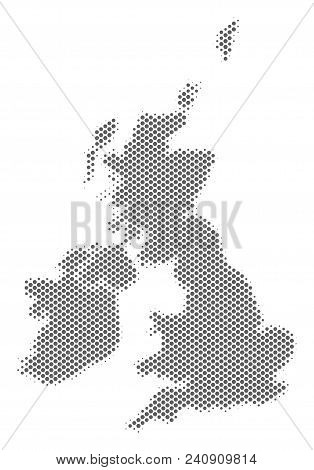 Schematic Great Britain And Ireland Map. Vector Halftone Geographical Plan. Grey Pixelated Cartograp