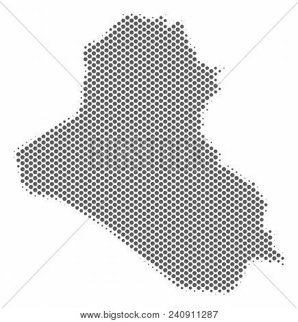 Schematic Iraq Map. Vector Halftone Territory Scheme. Gray Pixel Cartographic Concept. Abstract Iraq