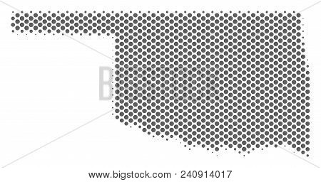 Schematic Oklahoma State Map. Vector Halftone Geographic Plan. Grey Dot Cartographic Concept. Abstra