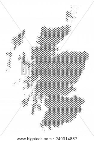 Schematic Scotland Map. Vector Halftone Geographic Abstraction. Gray Pixelated Cartographic Concept.