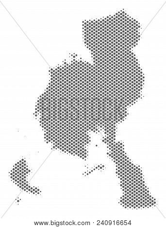 Schematic Veraguas Province Map. Vector Halftone Territory Scheme. Grey Dotted Cartographic Composit