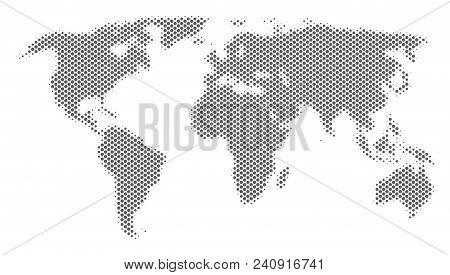Schematic World Map. Vector Halftone Geographical Abstraction. Silver Dot Cartographic Concept. Abst