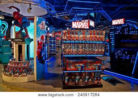 Moscow, Russia - March, 2018: Interior Of Marvel Toys Department In Hamleys Store. Marvel Comics Gro
