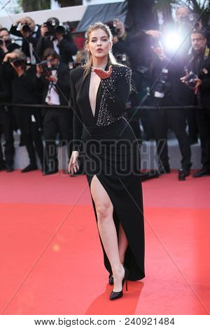 Model Barbara Palvin attends the screening of 'Burning' during the 71st  Cannes Film Festival at Palais des Festivals on May 16, 2018 in Cannes, France.