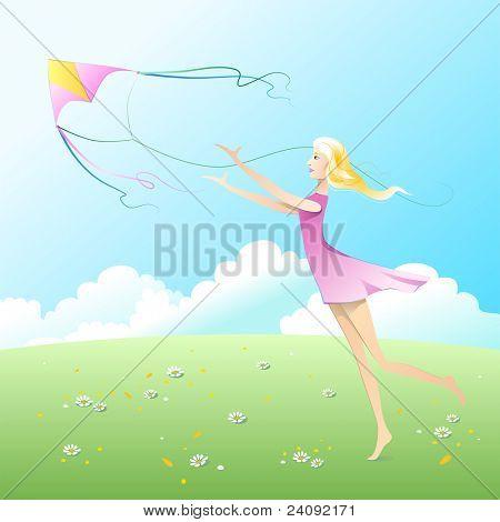 Girl fly a kite.