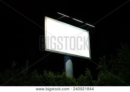 Empty Billboard, By Night. Blank Billboard For Advertisement.