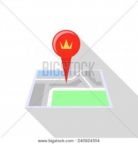 Royal Palace Map Pin Icon. Flat Illustration Of Royal Palace Map Pin Vector Icon For Web Design