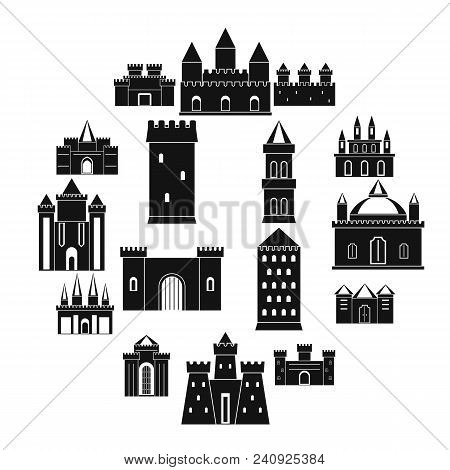 Towers And Castles Icons Set. Simple Illustration Of 16 Towers And Castles Vector Icons For Web