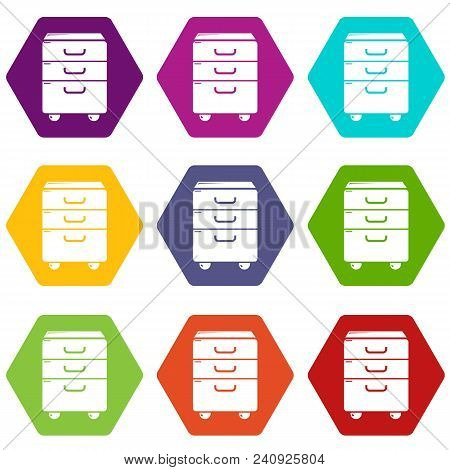 Office Closet Icons 9 Set Coloful Isolated On White For Web