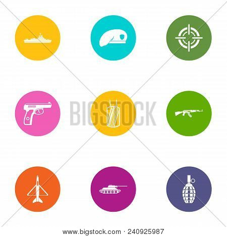 Military Member Icons Set. Flat Set Of 9 Military Member Vector Icons For Web Isolated On White Back