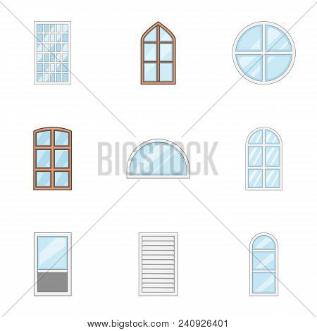 Window Pane Icons Set. Cartoon Set Of 9 Window Pane Vector Icons For Web Isolated On White Backgroun