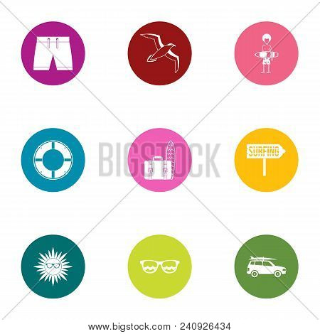 Beach Entertainment Icons Set. Flat Set Of 9 Beach Entertainment Vector Icons For Web Isolated On Wh