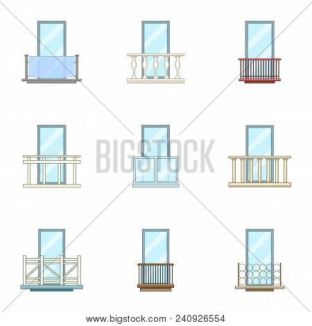Door Leaf Icons Set. Cartoon Set Of 9 Door Leaf Vector Icons For Web Isolated On White Background