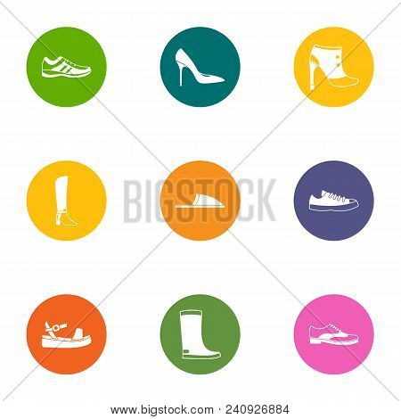 Footgear Icons Set. Flat Set Of 9 Footgear Vector Icons For Web Isolated On White Background