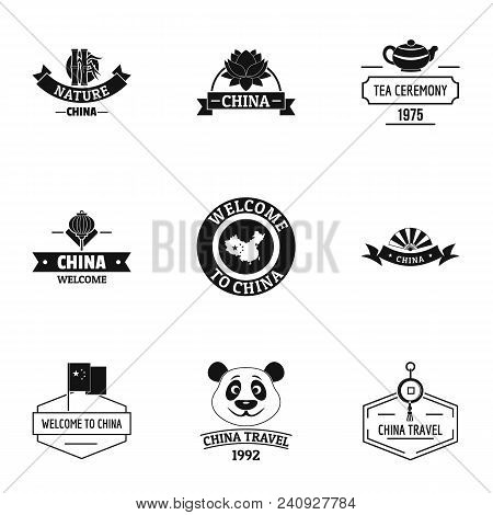China Land Logo Set. Simple Set Of 9 China Land Vector Logo For Web Isolated On White Background