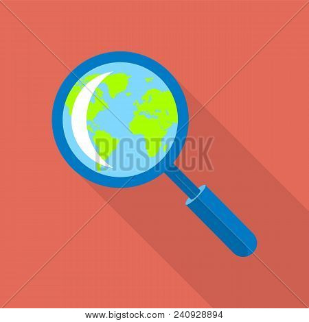 Globe In Magnified Glass Icon. Flat Illustration Of Globe In Magnified Glass Vector Icon For Web Des