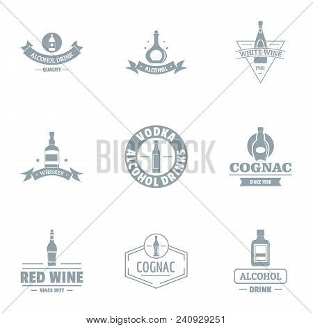 Vino Logo Set. Simple Set Of 9 Vino Vector Logo For Web Isolated On White Background
