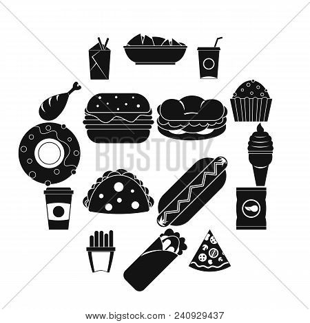 Fast Food Icons Set. Simple Illustration Of 16 Fast Food Vector Icons For Web