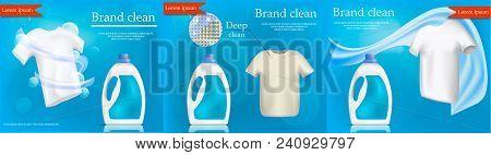 Laundry Service Banner Concept Set. Realistic Illustration Of 3 Laundry Service Vector Banner Concep