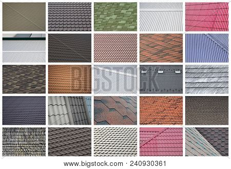 A Collage Of Many Pictures With Fragments Of Various Types Of Roofing Close Up. A Set Of Images With