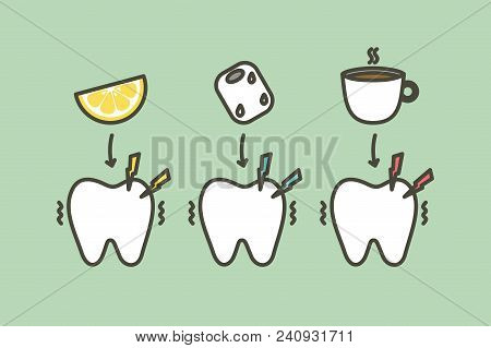 Tooth Feeling Sensitive Teeth From Cold Ice, Sour Lemon And Hot Coffee Drink - Dental Cartoon Vector