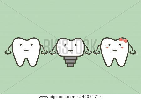 Tooth Implant, Teeth Change New Root And Friends - Dental Cartoon Vector Flat Style Cute Character F