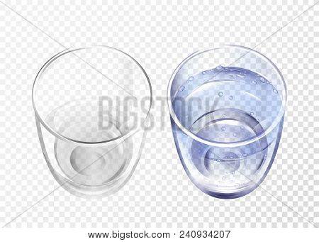 Vector Realistic Glass Empty And Cup With Blue Water On Transparent Background. 3d Glassware For Wat