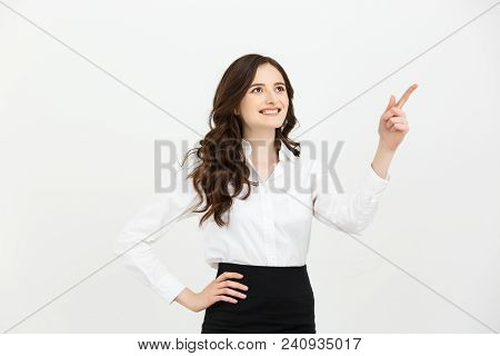 Business Concept Portrait Of Smiling Business Woman Pointing Finger On Copy Space. Iswolated Portrai