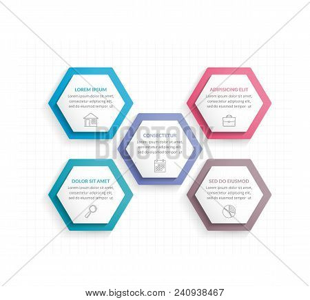 Infographic Template With Five Hexagons With Line Icons, Process Chart, Vector Eps10 Illustration