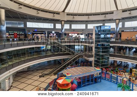 Departure Terminal At Antalya International Airport, Antalya Havalimani. Turkey