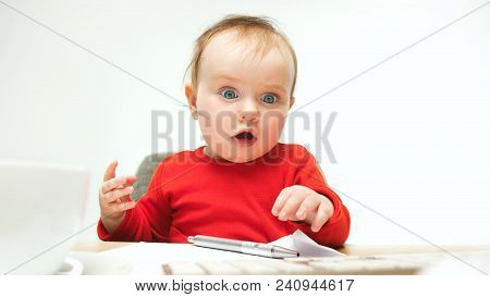 How Many Documents Can I Sign Child Baby Girl Sitting With Keyboard Of Modern Computer Or Laptop In