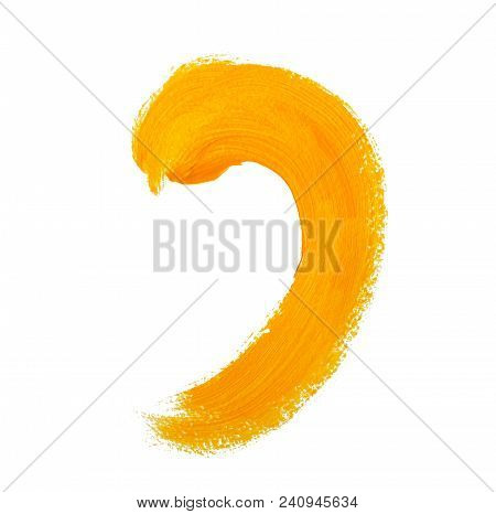 Yellow Painted Brushstroke As The Comma. Isolated On White Background