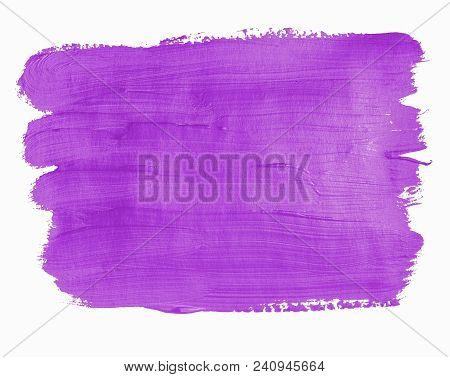 Purple Painted Banner. Lilac Acrylic Background. Isolated On White