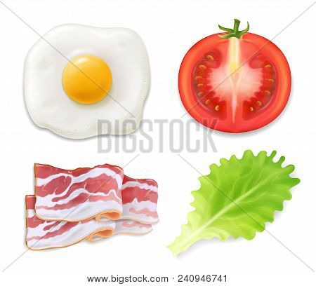 Scrambled Eggs. Illustration Of Omelet With Bacon. English Breakfast, Egg Tomato Bacon And Salad Ico